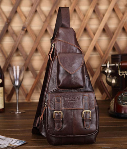 Genuine Leather Men's Retro Chest Sling bag - Coffee