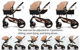 FREE Delivery - Baby Pram Stroller - 3 Function Foldable Baby Pram with Car Seat-Grey
