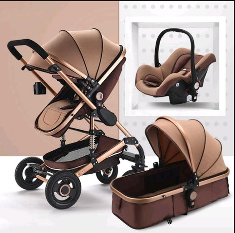 Baby Pram Stroller - 3 Function Foldable Baby Pram with Car Seat- Khaki Chocolate