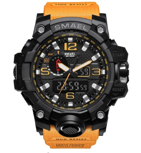 Smael Multifunctional Digital Analog Shock Resistant Sports Watch - Yellow