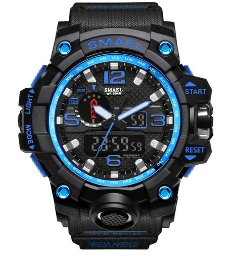 Smael Multifunctional Digital Analog Shock Resistant Sports Watch - Blue Dial Black Band