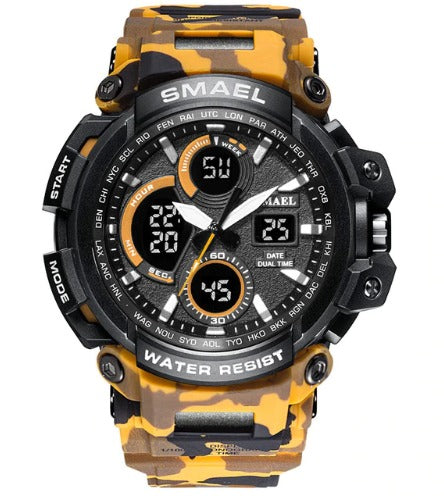 Smael Multifunctional Digital Analog Shock Resistant Chronograph Sports Watch - Yellow Camo