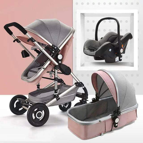 Baby Pram Stroller - 3 Function Foldable Baby Pram with Car Seat- Pink and Grey