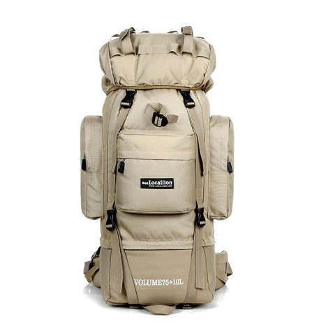 85L Outdoor Waterproof Rucksack, Trekking & Hiking Backpack - Khaki