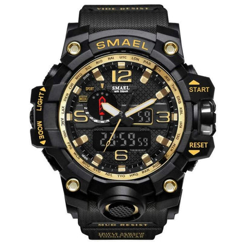 Smael Multifunctional Digital Analog Shock Resistant Sports Watch - Gold Black