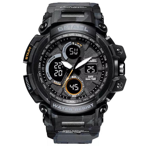 Smael Multifunctional Digital Analog Shock Resistant Sports Watch - Grey Camo