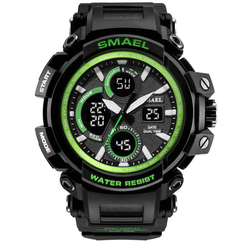 Smael Multifunctional Digital Analog Shock Resistant Sports Watch - Green and Black