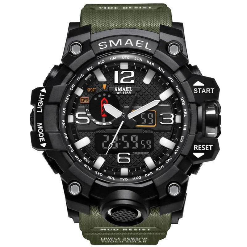 Smael Multifunctional Digital Analog Shock Resistant Sports Watch -  Army Green