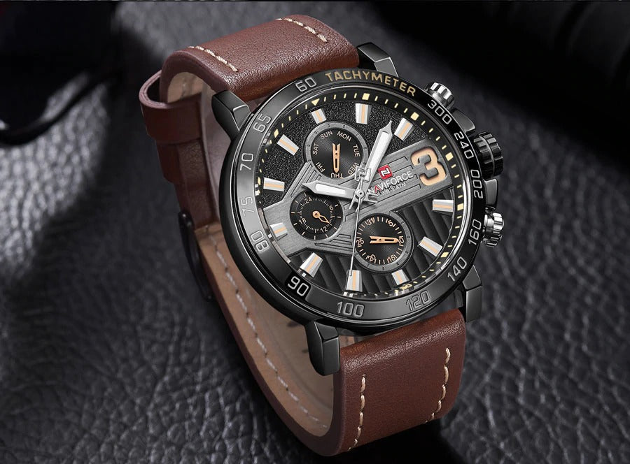 Men's Formal 9137 Naviforce Watch With Genuine Leather Band  - Brown