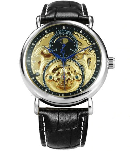 Men's Automatic Skeleton Mechanical Watches Sun Dial -  Genuine Leather Band