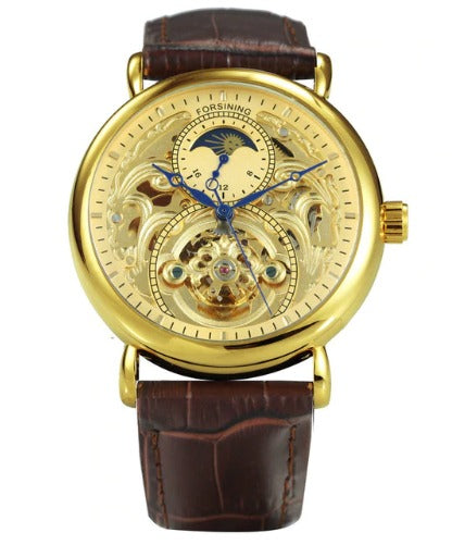 Men's Automatic Skeleton Mechanical Watches Sun Dial -  Genuine Leather Band - Gold