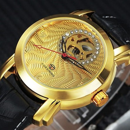 Men's Automatic Skeleton Mechanical Watches Crystal Face -  Genuine Leather Band - Gold