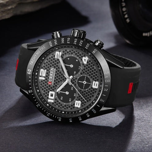 Men's Casual Curren Watches - Silicone  Black