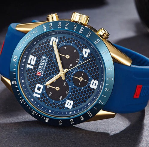 Men's Casual Curren Watches - Silicone  Blue
