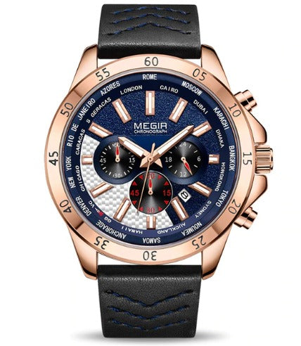 Men's Chronograph Watch (2103) - Megir Blue Rose Gold