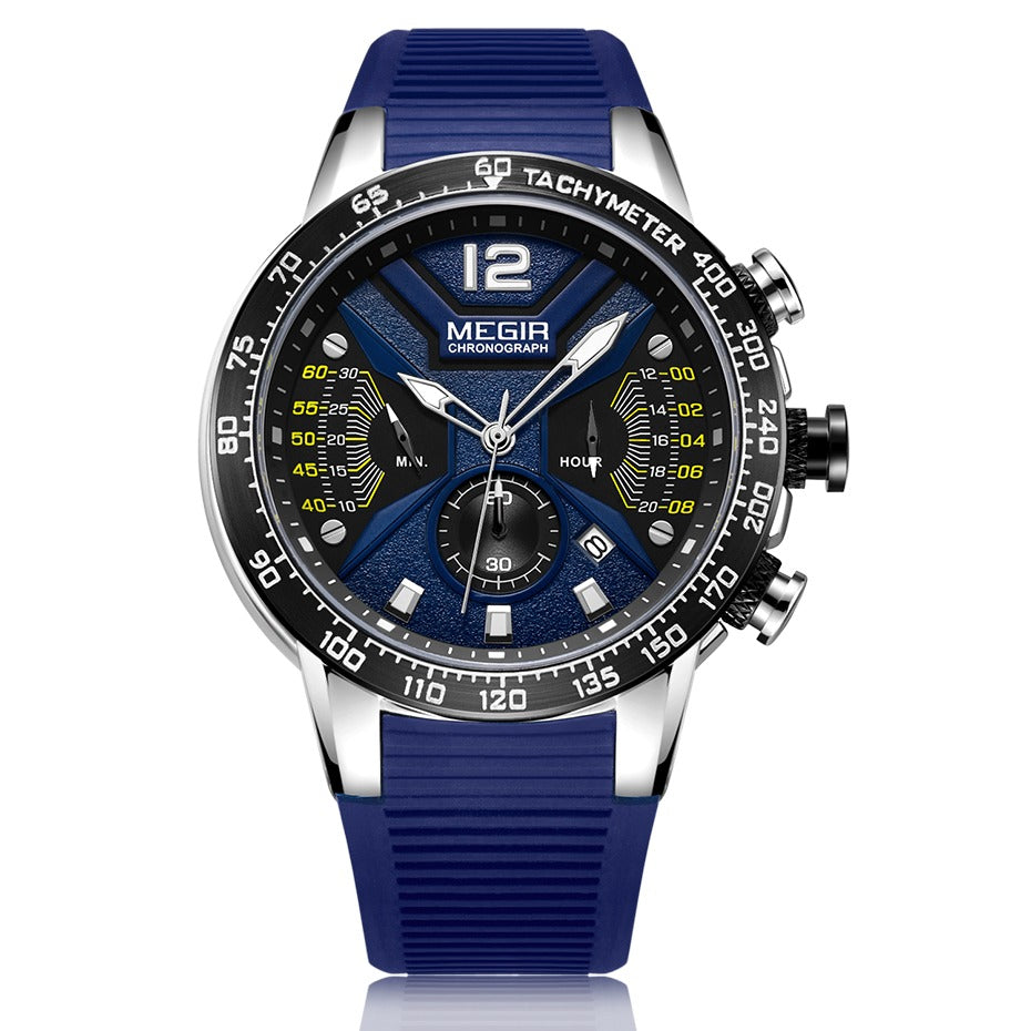 Men's Chronograph Watch (2106) - Megir Blue