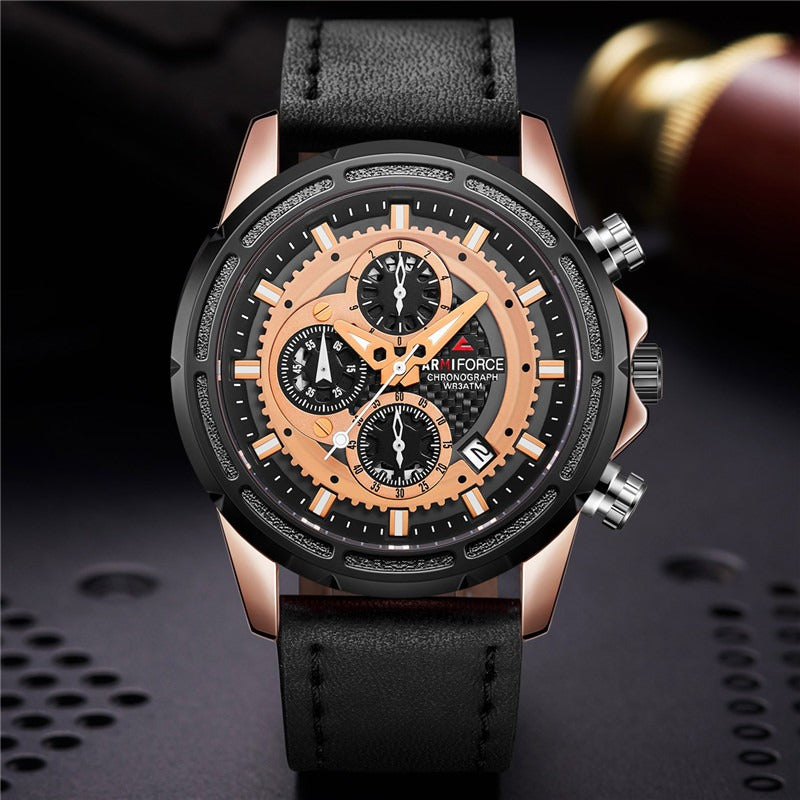 Men's Armiforce Luxury Genuine Leather Watch (8004) - Black Rose Gold