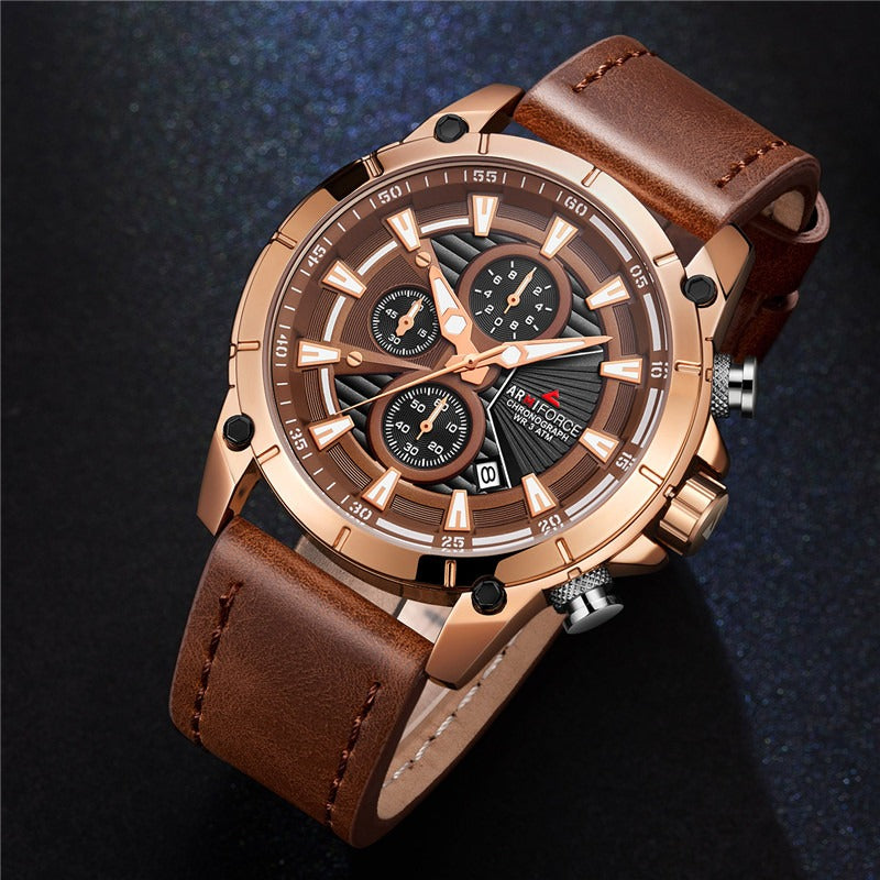Men's Armiforce Luxury Genuine Leather Watch (8007) - Brown