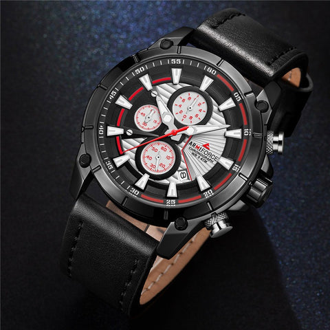 Men's Armiforce Luxury Genuine Leather Watch (8007) - Black Silver Red