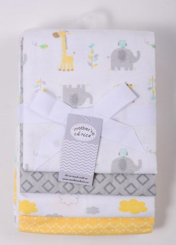 4pc Baby Flannel Receiver Set - Elephant
