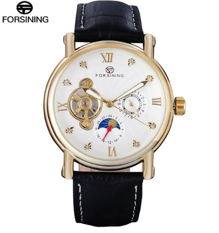 Men's Automatic Skeleton Mechanical Watches -  Genuine Leather Band - Black Belt