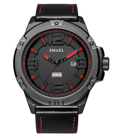 Smael Men's Analog Sport Watch - Black Red