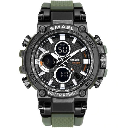 Smael Metal Case Multifunctional Digital Analog Watch- Green and Black