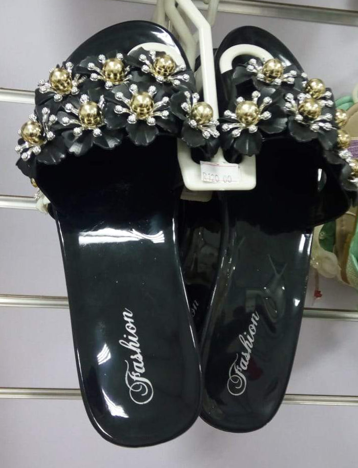 Summer Sandals - Flower Black