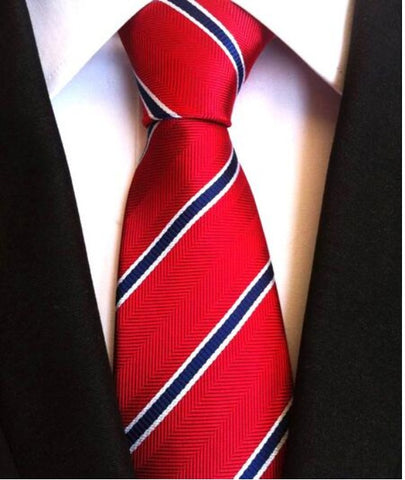 Men's Neck Ties - Striped Red NT010