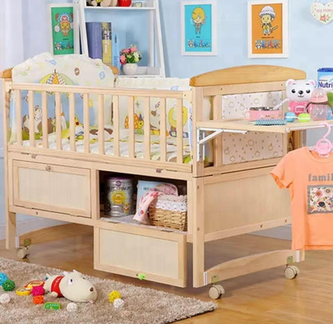 Solid Wood Store-me Baby Crib Cot with FREE matress- Natural - Model 116
