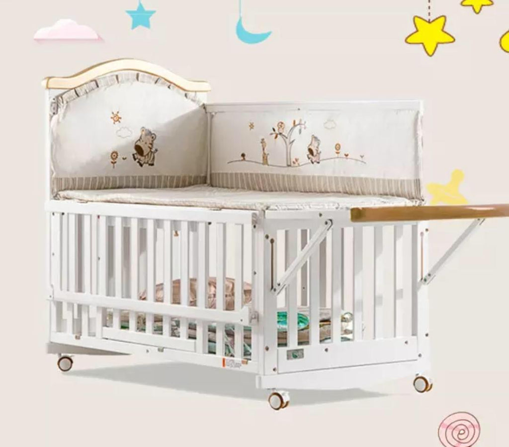 Premium Solid Wood Baby Crib Cot with FREE Mattress - White- Model 802