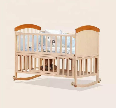 Solid Wood Baby Crib Cot with FREE Mattress - Natural - Model 229