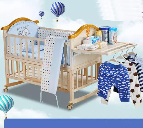 Solid Wood Baby Crib Cot with FREE Mattress - Natural - Model 588