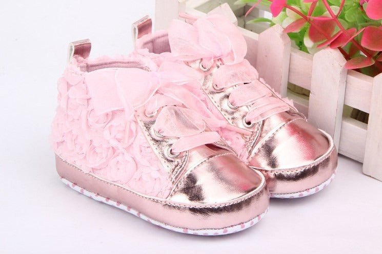 Infants Soft Soled Rose Lace Sneakers - Pink