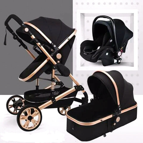 Baby Pram Stroller - 3 Function Foldable Baby Pram with Car Seat- Black and Gold