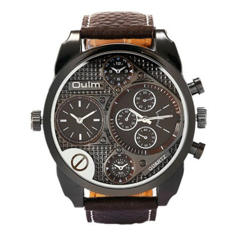 Men's Oulm Dual Dial WristWatch  9163- brown