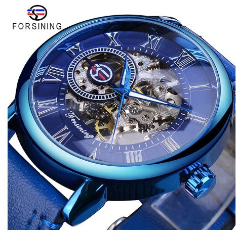 Automatic Skeleton Mechanical Watches - Blue - Leather Band