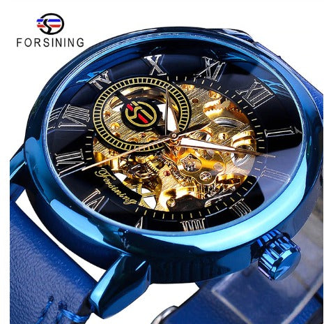 Automatic Skeleton Mechanical Watches - Blue and Black - Leather Band