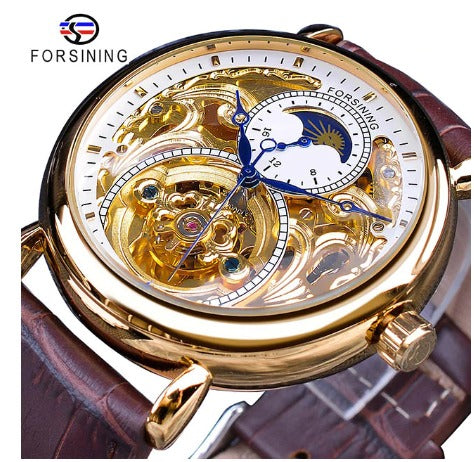 Men's Automatic Skeleton Mechanical Watches Sun Dial -  Genuine Leather Band - Gold white
