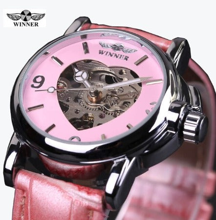 Ladies Heart Mechanical Watch - Pink