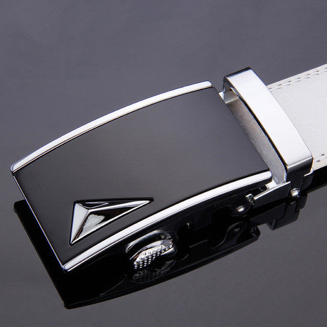Leather Automatic Buckle Formal Belt - White