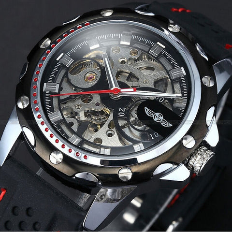 Automatic Skeleton Mechanical Watches - Silicon Band