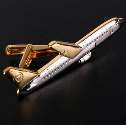 Airplane Tie Clips - Gold