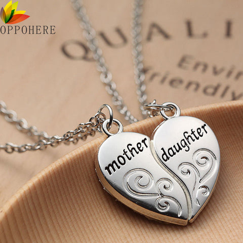 Mother Daughter Heart Pendent Necklace