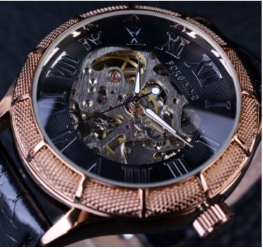 Automatic Skeleton Mechanical Watches -  Black Golden