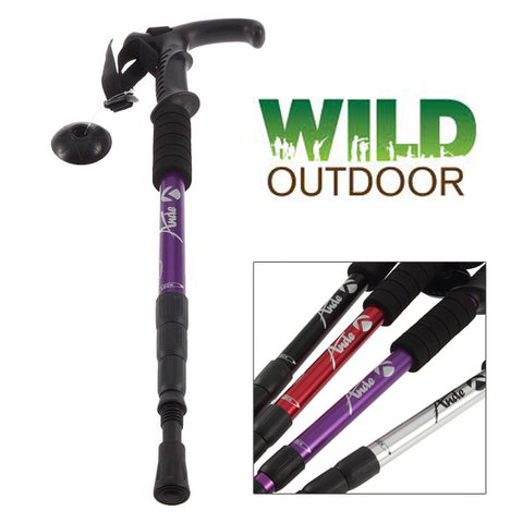 Hiking Walking Pole - Black (2 x Poles)