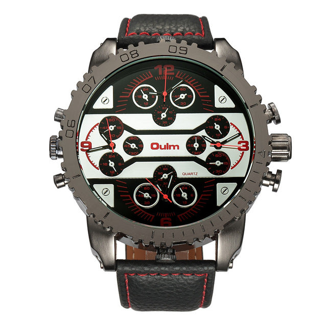 Men's Military Watch - 4 Time Zones - Black  Red