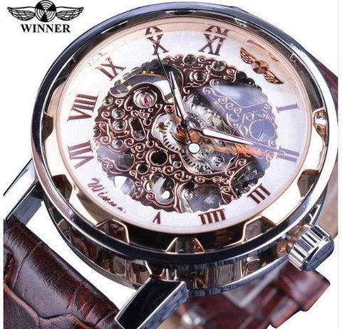 Automatic Skeleton Mechanical Watches - Brown Leather Band - Rose White