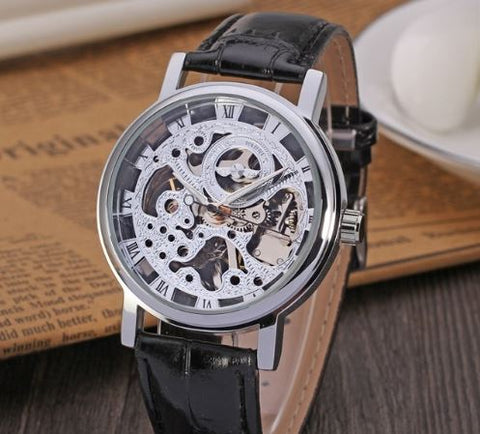 Automatic Skeleton Mechanical Watches -  Black Leather Band - Silver
