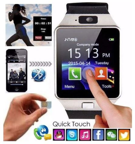 Smart Watch Phone - Support SIM CARD, SD Card, Bluetooth, Camera, Sleep Monitor, MP 3